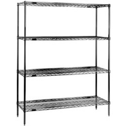 "24"" x 48"" Chrome 4-Shelf Unit with 74"" Height, Wire Shelving. Includes 4 Wire Shelves and 4 Two-Piece Posts, #SMS-69-2448C74"
