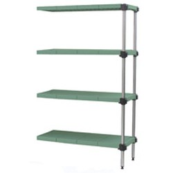 "18"" x 36"" Stainless Steel, Lifestor® Polymer Shelving - Add-On Unit with 63"" High Posts and Four Solid Shelves, #SMS-69-A4-63S-S1836PM"