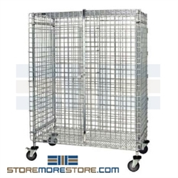 "27-1/4"" x 51-1/4"" x 69"" Stainless Steel Mobile, Full-Size Security Unit. Includes 4 Poly Stem Swivel Casters 5"" x 1-1/4"", Two with Brakes, #SMS-69-CSC2448S"
