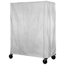 "21"" x 60"" White Uncoated Polyester with Zipper Cart Cover. 74"" Post Height, #SMS-69-CZ-74-2160"