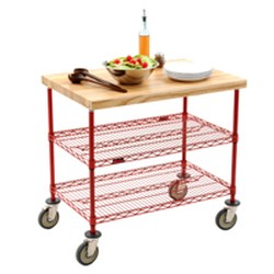 "24"" x 48"" Valu-Master® Grey, Maple Top Demo Cart, with Two Shelves, #SMS-69-DC2448V"