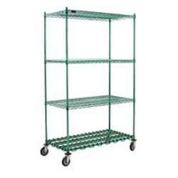 "24"" x 48"" Chrome, Stationary Starter Unit with Dunnage Shelf, #SMS-69-DS4-P74-2448C"