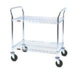 "18"" x 36"" Stainless Steel, Two-Shelf - Medium Duty Utility Cart, #SMS-69-EU2-1836S"