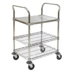 "18"" x 30"" Utility Cart with Solid Shelf, 4"" Caster Diameter, #SMS-69-EU3-1830CS"