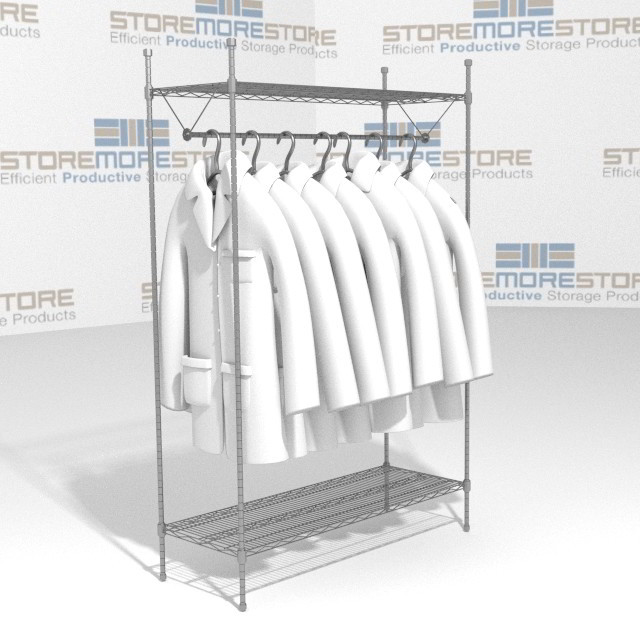 Alternative Views  sc 1 st  StoreMoreStore & Storing Hanging Garments Lab Coats SMS-69-GR1848C Wire Shelving 48 ...