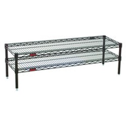 "24"" Length, (4) 14"" High Posts, Black Front Case Merchandise Shelf with Two Standard Wire Shelves, #SMS-69-HDFCM1424BL"