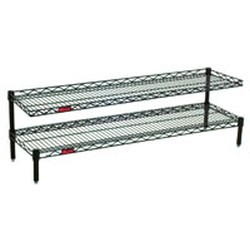 "24"" Length, (4) 14"" High Posts, White Front Case Merchandise Shelf with Two Standard Wire Shelves, #SMS-69-HDFCM1424W"