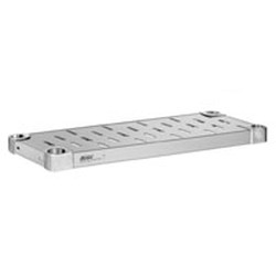 "18"" x 54"" 16 Gauge Stainless Steel Louvered Shelf - Quik-Set® Solid Shelving, #SMS-69-HDS1854SL"