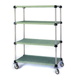 "18"" x 30"" Lifestor® Louvered Shelves with Stainless Steel Rails for Mobile Application, #SMS-69-L1830PSM-M"