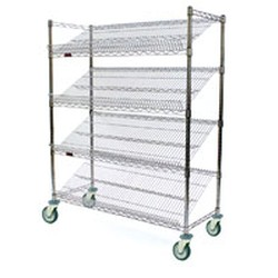 "18"" x 48"" Chrome, Angled Shelf/Visual Merchandising Cart, #SMS-69-M1848C-4"
