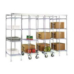 "30"" Chrome, Mobile Unit Kit with 74"" High Post (Casters Included In Post Height) - Master Trak® Overhead Track High-Density Storage System, #SMS-69-MUK30-C"