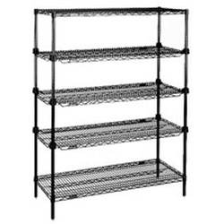 "18"" x 48"" Black, Add-A-Shelf Starter Unit, #SMS-69-RS4-74-A1848BL"