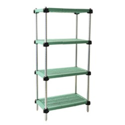 "18"" x 42"" Stainless Steel, Lifestor® Polymer Shelving - Starter Unit with 63"" High Posts and Four Louvered Shelves, #SMS-69-S4-63S-L1842PM"