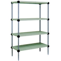"18"" x 30"" Stainless Steel, Lifestor® Polymer Shelving - Starter Unit with 63"" High Posts and Four Solid Shelves, #SMS-69-S4-63S-S1830PM"