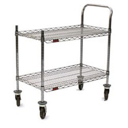 "18"" x 36"" Redipak® 2-Shelf Cart, Includes One Handle, Two Posts, and Four Casters - All In One Carton, #SMS-69-U2-1836C-RP"
