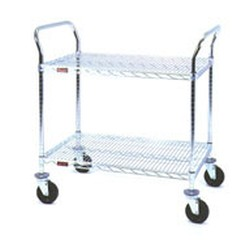 "18"" x 42"" Chrome, Two-Shelf - Heavy Duty Utility Cart, #SMS-69-U2-1842C"