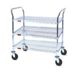 "21"" x 42"" Stainless Steel, Three-Shelf - Heavy Duty Utility Cart, #SMS-69-U3-2142S"