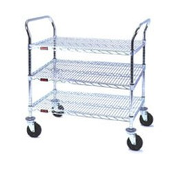"24"" x 42"" Chrome, Three-Shelf - Heavy Duty Utility Cart, #SMS-69-U3-2442C"