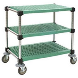 "18"" x 48"" Lifestor® Polymer Utility Cart, Stainless Steel Finish with Louvered Shelves, #SMS-69-U3-L1848PSM"
