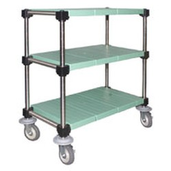 "23"" x 48"" Lifestor® Polymer Utility Cart, Stainless Steel Finish with Solid Shelves, #SMS-69-U3-S2348PSM"