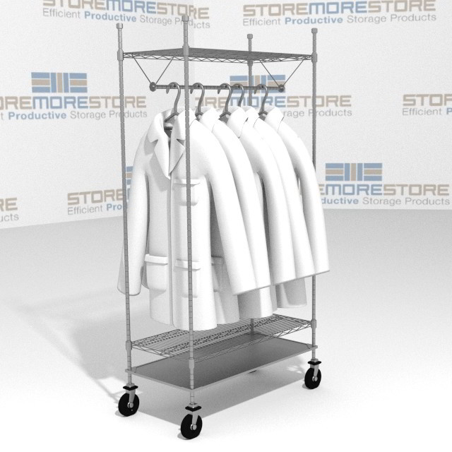 Free ...  sc 1 st  StoreMoreStore & Mobile Racks Hanging Uniforms Garments Coats Wire Shelving Carts SMS ...