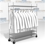 "60"" Wire Shelving Carts with Clothes Hangers Uniforms Lab Coats Eagle URS1860C"