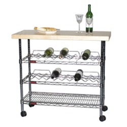 "18"" x 40"" Hardwood Top Kitchen Wine Cart, #SMS-69-WR1840C"