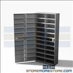 "Handgun Pistol Lockers, Twenty Compartment Handgun Locker with Tube Key Locks, 34"" Wide x 12"" Deep x 74"" High, #SMS-72-EDHG20K"