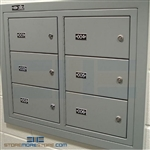 "Six Compartment Flush Mount Wall Pistol Lockers with Tube Locks, 25"" Wide x 6-1/2"" Deep x 20-1/8"" High, #SMS-72-EDHGF06"