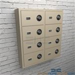 Small arm security compartments cabinets for locking handguns and small weapons.