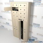 "Thirteen Compartment Handgun and Long Gun Locker with Tube Key Locks, 34"" wide x 12"" deep x 74"" high, #SMS-72-EDSG85K"