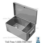 "Safety Hand Gun Box II with steel divider and padlock hasp, 13"" Wide x 8"" Deep x 5"" High, #SMS-72-SB138500"
