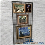 museum wire mesh display panel or hanging picture display screens also known as wall framed painting storage display racks
