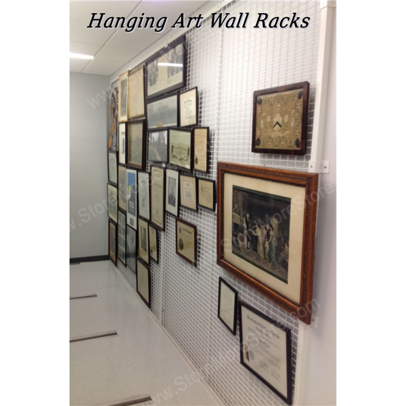 modular wall mounted wire art racks or wire mesh museum artwork display  panel also known as