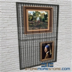 wire mesh gallery display rack or wall framed painting storage display racks also known as museum wall mounted framed artwork display rack