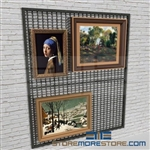 museum hanging artwork display screen or temporary exhibits wall mounted display rack also known as gallery wire mesh wall display panel