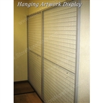 Library Wall Mounted Mesh Display Artwork Panels with wire screens for framed artwork storage also known as library artwork racks