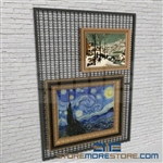 temporary exhibits wall mounted display panels or gallery artwork display rack also known as wire mesh framed painting display panel
