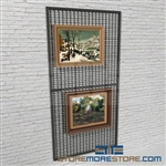 temporary display for hanging artwork or modular wall mounted artwork display system also known as wall mounted mesh artwork storage rack