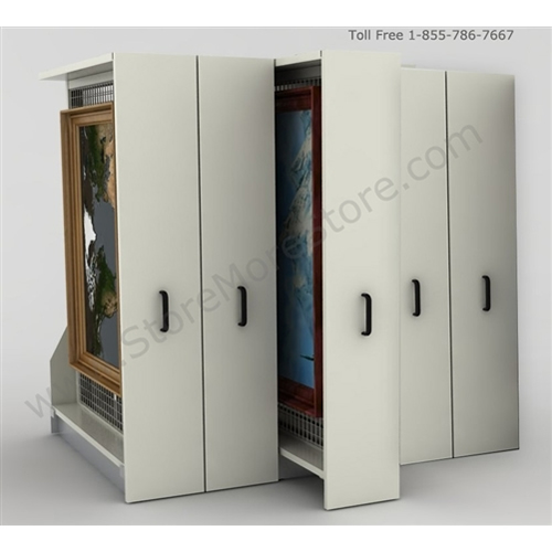 Superior Framed Artwork Storage Racks Security Hold Framed Artwork On Steel Grids  That Slide On Rolling Bases
