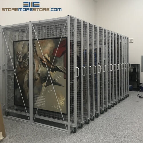 Five Panel Art Storage Rack High Capacity Hanging Framed