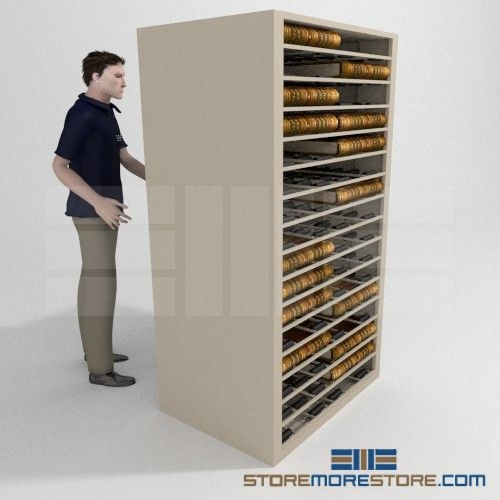 Deed And Plat Book Storage Cabinet With Roller Shelves