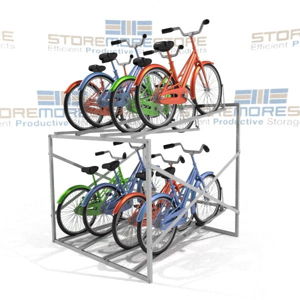 Bike Storage Rack Storing 8 Bicycles Stacked Two Levels High
