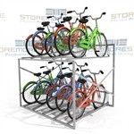 "Double-Tier Bike Rack Stores 10 Bicycles (6' Wide x 5'8"" Deep x 3'11"" High), SMS-79-BK610"