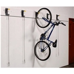 Secure bicycle hanging hooks and brackets with locking cable for storing bikes vertically designed for lost and found rooms, apartments, condos, tenant storage, evidence rooms, universities; organizes bike to save space.