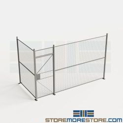 Indoor Wire Barriers 14' Wide Security Partitions Hinged Door 8' High Wall