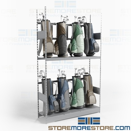 Country Club Golf Bag Rack Storage Room Shelves Organizing