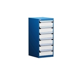 "Drawer Pedestal Bench Cabinet with six 6"" drawers for various uses including computer technical workbenches perfect for an offices, tech workshops, repair centers, maintenance areas and any industrial environment or kitting manufacturing facility."