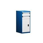 "Parts Drawer Bench Pedestal Cabinet with two 6"" drawers, hinged door and industrial shelf parts drawer cabinet bench pedestal cabinets L3ABG-4021 perfect for an office, workshop, or factory this durable cabinet is designed for any environment."
