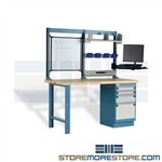 Computer Workbench with Monitor Arm with laminate wood top provides exemplar workspace for your IT staff members providing a complete workstation including drawer pedestal, keyboard tray, monitor mount, plastic bins for small parts as a technician bench